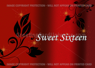Red and Black Elegant Sweet Sixteen Invitation Greeting Card