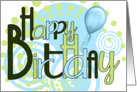 Happy Birthday Funky Blues and Greens card