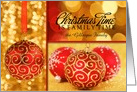 From Our Family to Yours Red and Gold Christmas Ornaments card