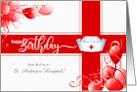 Nurse's Birthday - Custom Red and White Balloons Nurse's Cap card