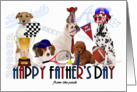 for Dad from the Kids on Father's Day Dogs Sports Theme card