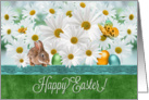 Happy Easter White Daisy Garden with Bunny card