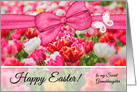 for Granddaughter on Easter Pink Tulip Garden card