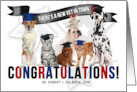 Custom Veterinary Graduate Congratulations Graduating Cats and Dogs card