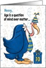 Custom 70th Birthday Humorous Blue Buzzard card