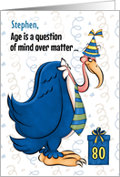 Custom 80th Birthday Humorous Blue Buzzard card