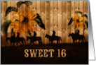 Sweet 16 Birthday Western Sunflowers and Cowgirls card