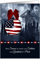 Military Christmas - American Flag with Soldier and Skyline card