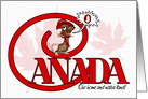 O Canada Day - Maple leaf and Mouse Singing the Anthem card