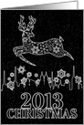 2013 Christmas Black with White Snowflakes and Reindeer card