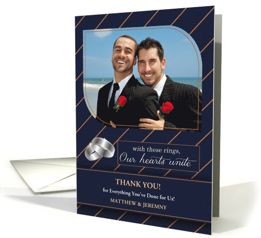 Custom Gay & Lesbian Wedding Thank You Blue Pinstriped