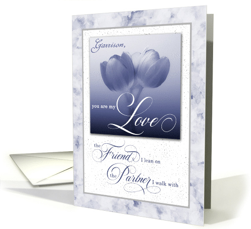 Custom for Gay Partner Wedding Anniversary Blue Tulips card