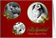 Custom Christmas Feliz Navidad Red Photo Card