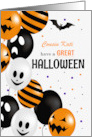 Custom Any Relation Halloween Black Cat and Pumpkins card