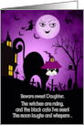 for Daughter Halloween Laughing Moon and Black Cat card