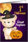 Great Nephew 1st Halloween Autumn Teddy Bear Witch card