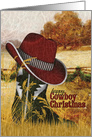 Cowboy Christmas Country Western Boot and Hat card