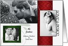 3-Photo Elegant Red and Green Holiday Photo Card