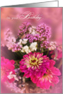 Birthday Feminine Pink Floral Bouquet card