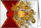 Gold Sleigh Bells on White with Red Bow for Christmas card