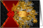 Gold Sleigh Bells on Black with Red Bow for Christmas card