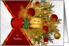 Custom Gold & Red Sleigh Bells with Boughs of Holiday Greenery card