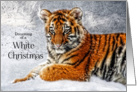 Christmas Tiger Cub in the Snow Wildlife Theme card