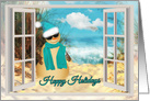 Sandman Beach through a Window Happy Holidays card