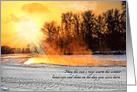 Winter Birthday Sun Rays on Winter Landscape card