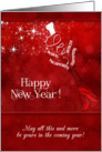 New Year Champagne and Clock in Red and White card