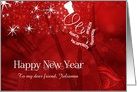for Friend Custom New Year Champagne in Red and White card