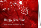 for Friend on New Year's Champagne in Red and White card
