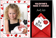 for Aunty on Valentine's Day Custom Photo Card from Kids card