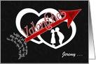 Be Mine Valentine Arrow through Hearts Custom card