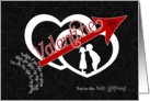 for Girlfriend Be Mine Valentine Arrow through Hearts card