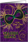 Mardi Gras in Violet - Gold - Green Mask card