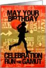 Birthday Female Runner Sport Theme in Orange and Golds card