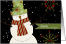 Holiday Snowman with Sage Green and Snowflakes card