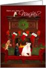 Naughty or Nice? Pets Waiting for Santa card