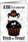 Custom for Kids Halloween - Cute Spider Stealing a Cupcake card