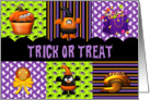 Halloween Trick or Treat Tasty Treats in Purple, Orange and Black card