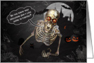 Halloween Skeleton Tells a Funny Joke Graveyard Scene card