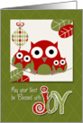 From Our House to Yours - Trendy Owl Family Wishing Christmas Joy card