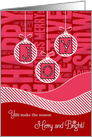 JOY Red and Pink Christmas - Trendy Waves and Candy Cane Stripes card