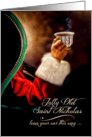 Vintage Santa Relaxing with a Hot Beverage card