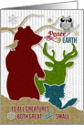 Peace on Earth Woodland Creatures Holiday Stamp Style card