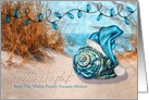 Spanish Felices Fiestas - Blue Santa Hat on the Beach Shell card