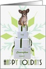 Custom Papillon Dog | Green Snowflake Holiday Packages card