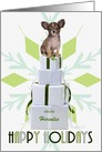 Custom from the Papillon Dog | Green Snowflake card