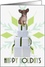 Papillon Dog | Green Snowflake Blank Holiday Card